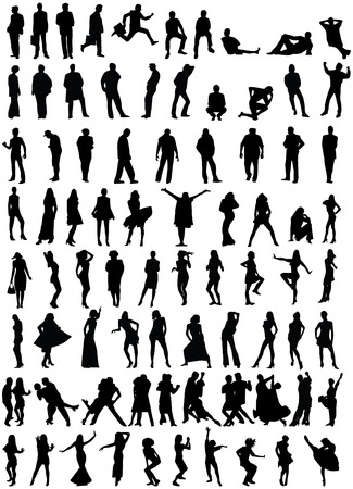 vectorial: 80 peoples silhouette