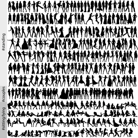 320 fashion silhouettes Vector