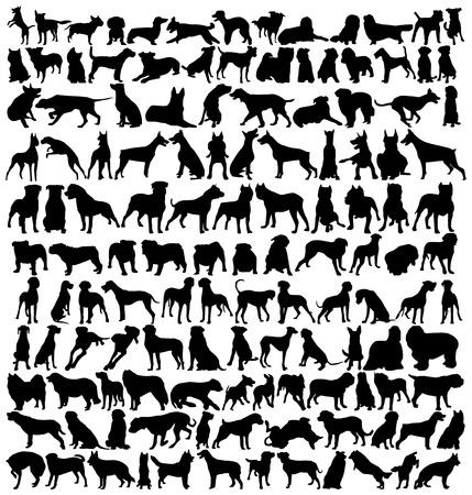 Hundreds of dogsilhouettes Ilustração