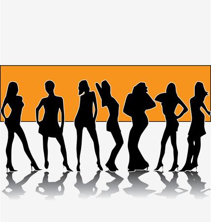 with orange and white body: grupo de moda  Vectores
