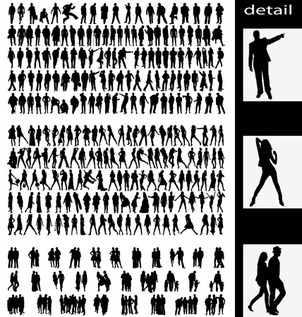 man,woman,groups and couples silhouettes Vector