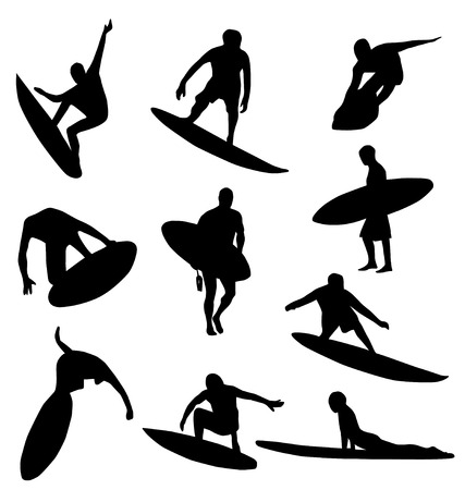 surfer silhouette: different detailed surfer silhouettes; easy to manipulate