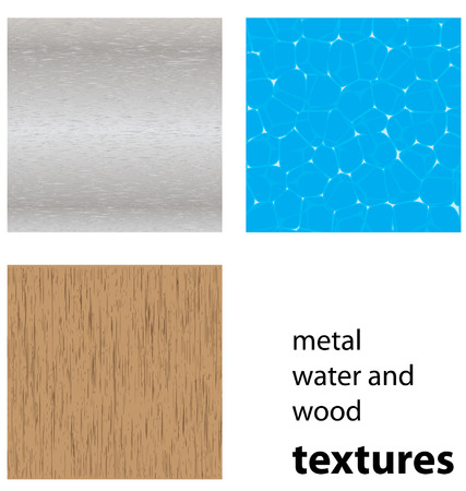 water;wood and steel textures Vector