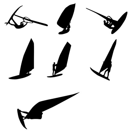 windsurf silhouettes collection Stock Vector - 3417238