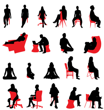 сидит: people silhouettes sitting