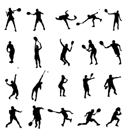 male tennis players: tennis silhouettes collection Illustration