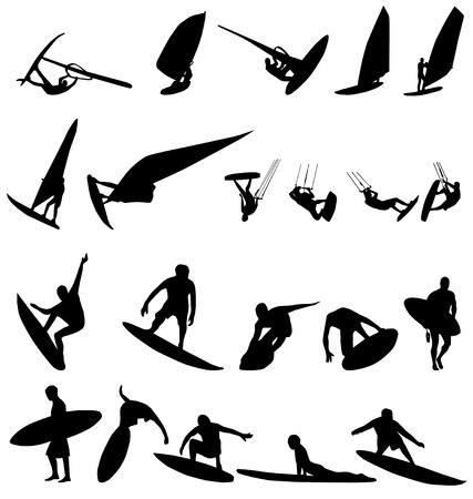 surf silhouettes collection Stock Vector - 3536249