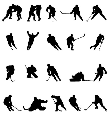 hockey silhouettes collection Illustration