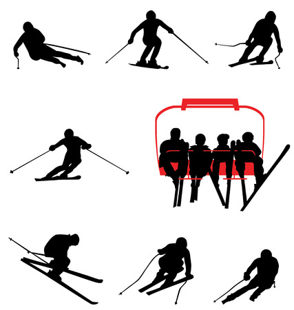 ski lift: ski silhouettes Illustration
