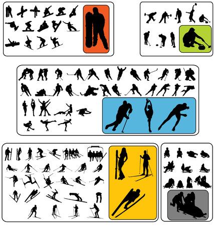 ski jump: wintersport silhouettes Illustration