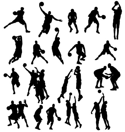 dribbling: basketbal silhouetten set Stock Illustratie