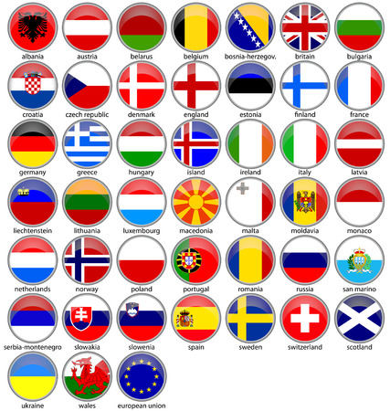 shiny europe buttoned-flags set
