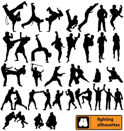 fighting silhouettes collection Ilustração