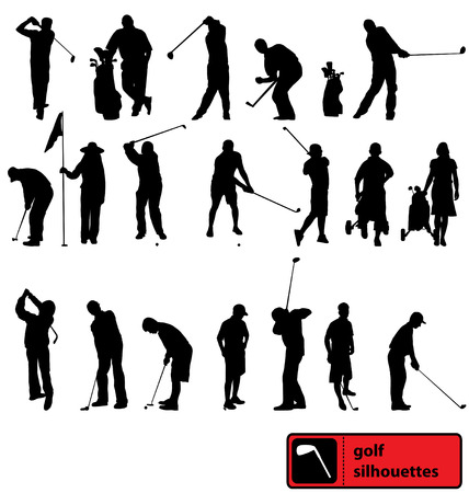 golf silhouettes collection Vector