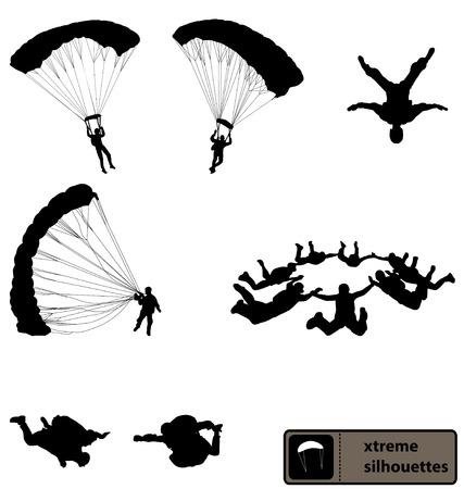 parachutisme silhouettes collection
