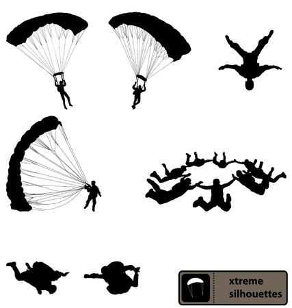 skydiving silhouettes collection Vector