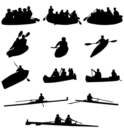 rowing: rowing silhouettes collection Illustration