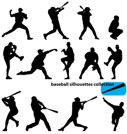 baseball silhouettes collection Ilustração