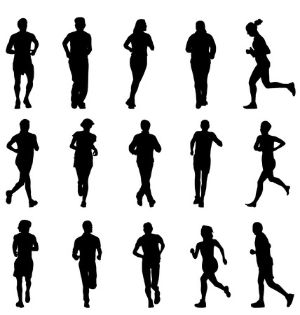 person walking: running silhouettes collection