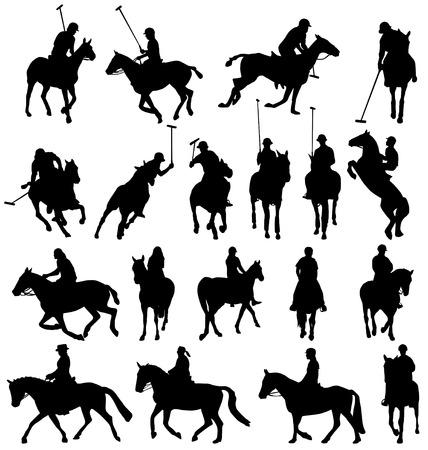 polo sport: horseback-riding silhouettes