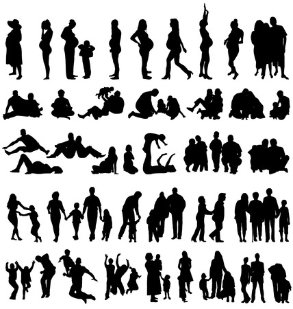 happy black family: family silhouettes collection Illustration