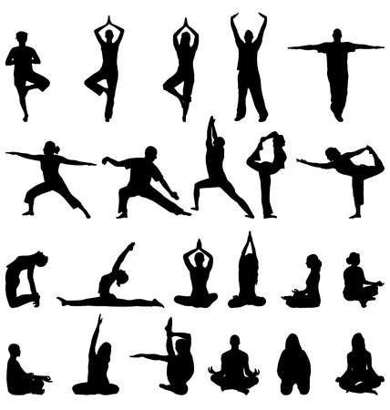 women yoga: meditation silhouettes