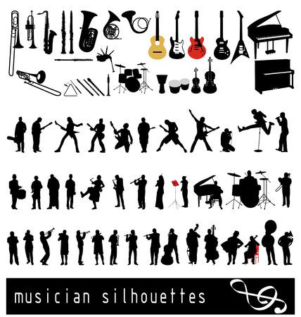 guitarristas: colecci�n de siluetas de m�sico.