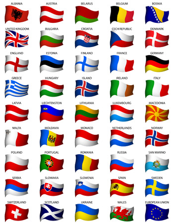 swiss flag: wavy european flags set