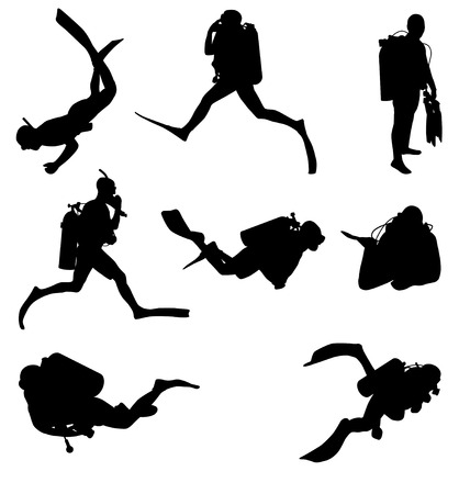 swimming underwater: diving silhouettes set