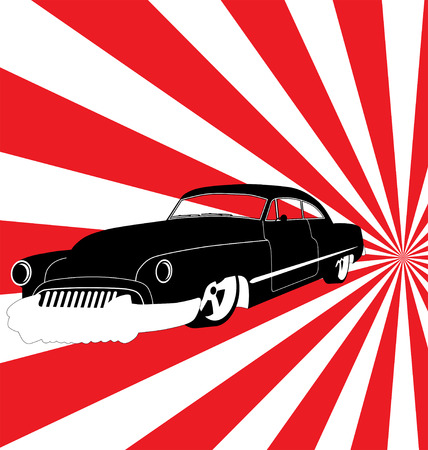 cartoon gangster: retro car illustration