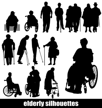 elderly silhouettes Stock Vector - 8144277