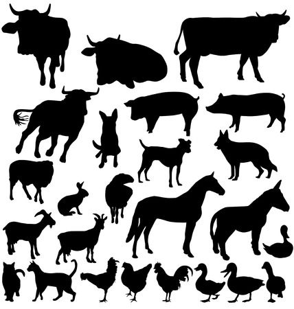 farm animal silhouettes set Vector