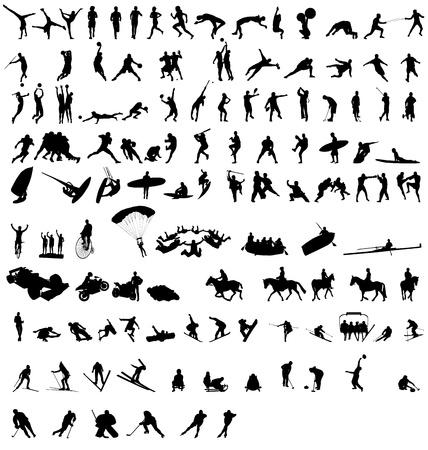 sportsilhouettes conjunto Ilustración de vector