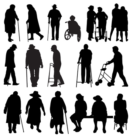 wheelchair: elderly silhouettes set