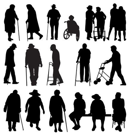 silla de ruedas: siluetas ancianos establecido Vectores