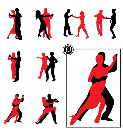 dancing silhouettes set Vector