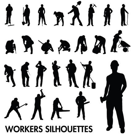 Conjunto de siluetas de los trabajadores Foto de archivo - 21691065