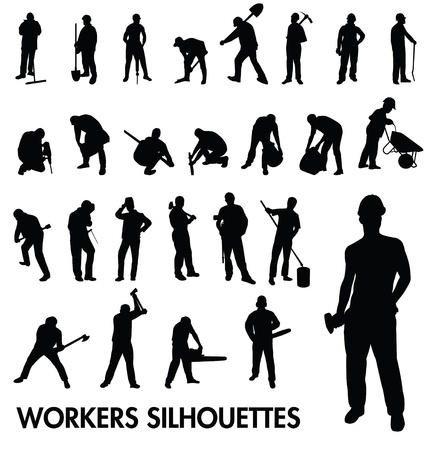 janitorial: workers silhouettes set