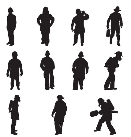 firefighter silhouettes set Illustration