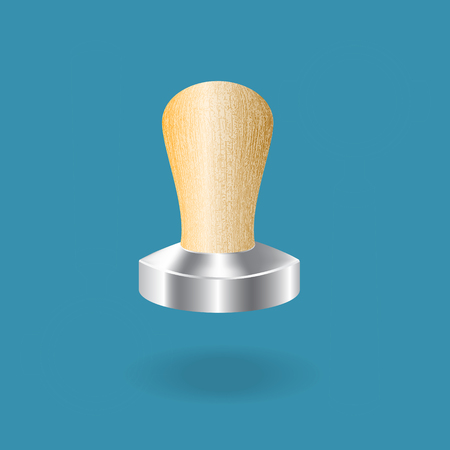 Stainless steel espresso tamper with wooden handle.