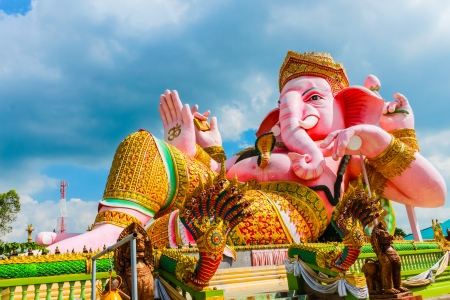 Pink Clining Ganesh Sculpture Stock Photo