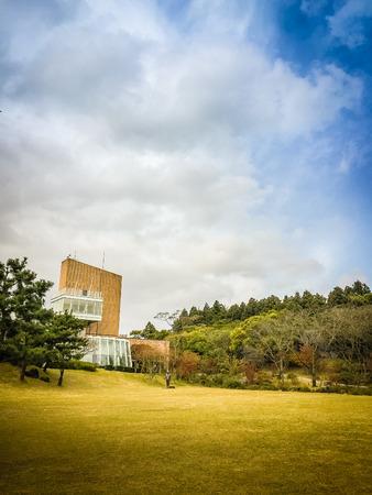 Beautiful of Osulloc tea museum garden in blue sky background, the famous green tea museum in Jeju island, South Korea