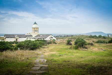 sudden: Beautiful Catholic Church at Seopjikoji, located at the end of the eastern shore of Jeju Island. Seopji is the old name for the area, and Koji is Jeju dialect meaning a sudden bump on land. Stock Photo