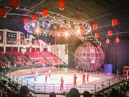 troupe: Jeju Island, Korea - November 12, 2016 : The tourist visited Jeju Circus World, One of tourist attractions in Jeju-do.