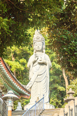 widely: Stone statue of Gwanseeum-bosal at Sanbangsa Temple. Also known as Guanyin or Guanshiyin , is the Goddess of mercy, influenced from Chinese folk religion. Widely worship in the East & South East Asia