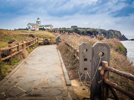 Jeju Island, Korea - November 13, 2016 : The tourist visited the Beautiful Catholic Church at Seopjikoji, located at the end of the eastern shore of Jeju Island.