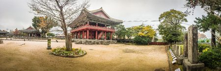 oficina antigua: Panorama view of Jeju Mokgwana, the oldest remaining building in Jeju for former central government office where the Joseon Period Magistrate of Jeju from 1392 to 1910 Editorial