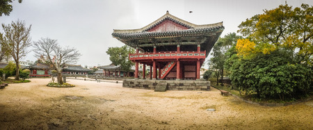 Panorama view of Jeju Mokgwana, the oldest remaining building in Jeju for former central government office where the Joseon Period Magistrate of Jeju from 1392 to 1910 Editorial