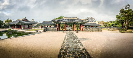 rebuilt: Panorama view of Jeju Mokgwana, the oldest remaining building in Jeju for former central government office where the Joseon Period Magistrate of Jeju from 1392 to 1910 Editorial