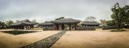 rebuilt: Panorama view of Jeju Mokgwana, the oldest remaining building in Jeju for former central government office where the Joseon Period Magistrate of Jeju from 1392 to 1910 Stock Photo